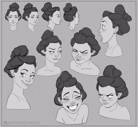 一组超可爱卡通手绘女生头像