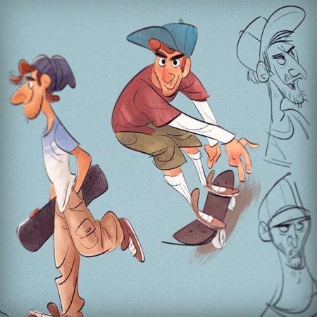 手绘很酷的卡通形象角色概念